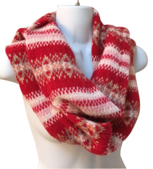 Item - Red Knit Soft Nordic Pattern Scarf/Wrap