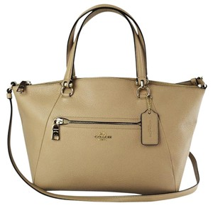 Coach Prairie Leather Satchel in Nude Beige Tan