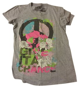 Glamour Kills Give It A Chance Peace Peace Sign Medium T Shirt Grey