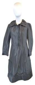 Diane von Furstenberg Silk 3/4 Sleeve Gunmetal Dress