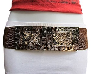 Women Hip Waist Stretch Brown Fashion Belt Snake Print Square Buckle S M L