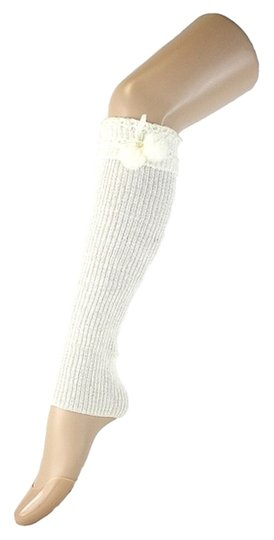 Other White Cute Fur Ball Accent Top Knitted Leg Warmer Boot Socks