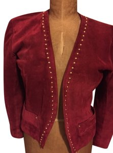 Saint Laurent Vintage 1980s Suede Suede Ysl Suede Gold Studding Red Blazer