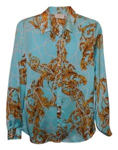 Chico's Satin Button Down Blouse Button Down Shirt Multi-Color