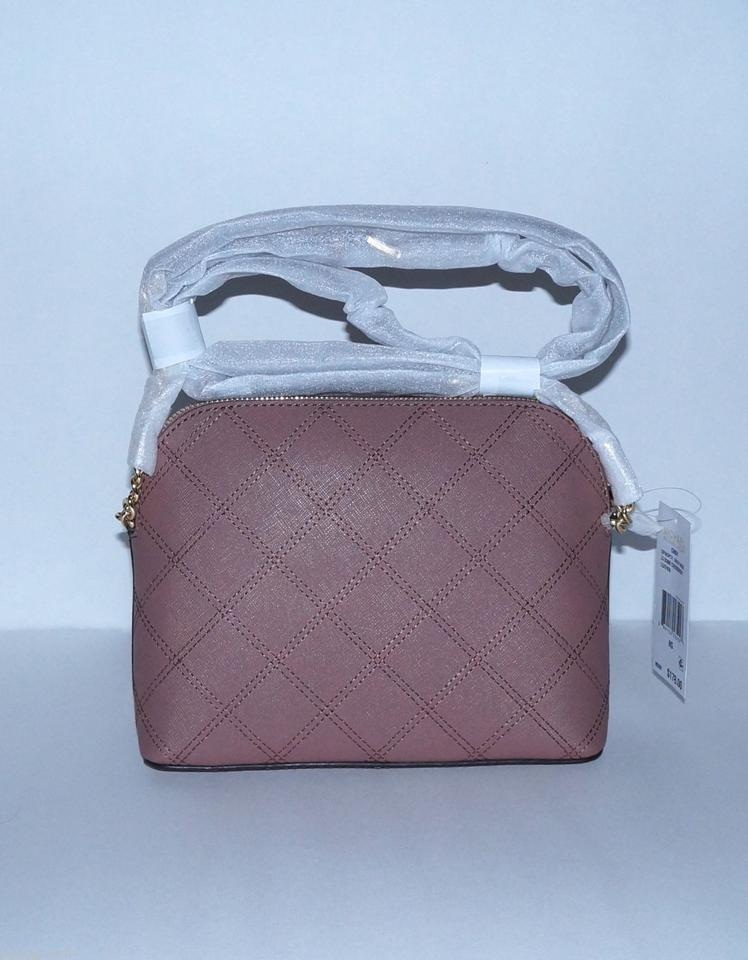 dc20b4c0e08c Michael Kors Cindy Stitched Large Dome Dusty Rose Saffiano Leather Cross  Body Bag - Tradesy