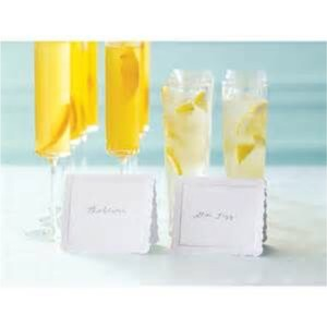 Martha Stewart White Shimmer with Silver Border Place Cards