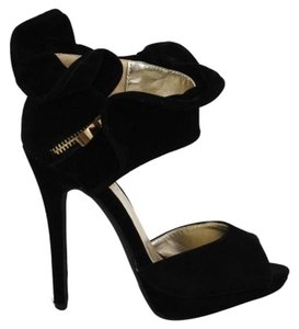 Liliana shoes Black Stiletto Heels Peep Toes Black Heels Leopard Sandals