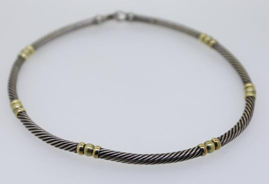 David Yurman * David Yurman Sterling Silver 14K Gold Cable 5mm Choker Necklace