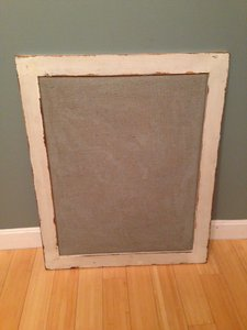 Wooden Frame With Gray Burlap