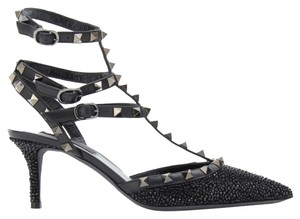 Valentino Rockstud Studded Strass Crystal Kitten Heel Black Pumps