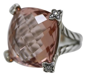 David Yurman David Yurman Morganite Point on Cushion Ring w/ Pave Diamonds - Size 5.5