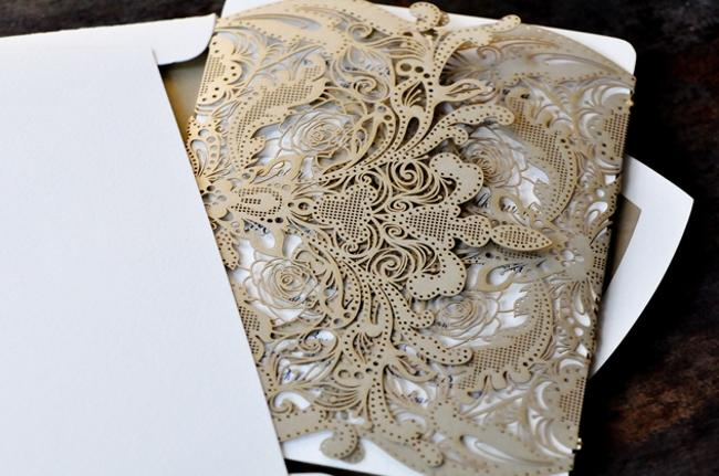 Gold Laser Cut Wedding Invitation Wraps Gold Laser Cut Wedding Invitation Wraps Image 1