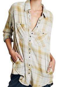 Free People Button Down Shirt Charcoal combo (cream, yellow, gray)