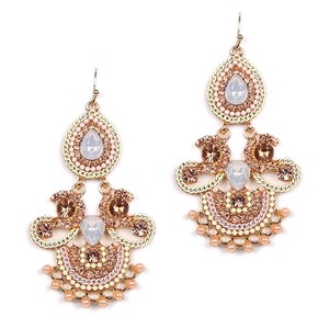 Gorgeous Crystals Opal Gems & Pearls Statement Chandeliers Gold Bridal Earrings