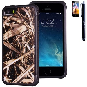 True Color SALE - Hunter Real HD Tree Camo Emboss Printed Impact Resistant Soft Rugged Cover for iPhone 5/5S - FREE Stylus and Screen Protector