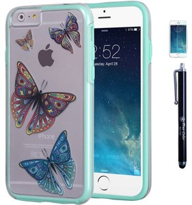 True Color SALE -True Color Butterflies Tattoo Design on Clear Transparent Hybrid Cover, Hard +Soft Slim Thin Durable Protective Shockproof Impact TPU Bumper +FREE Stylus and Screen Protector - Mint