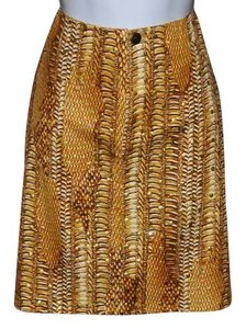 Oleg Cassini Animal Print Mini Skirt Camel-- Golden Brown