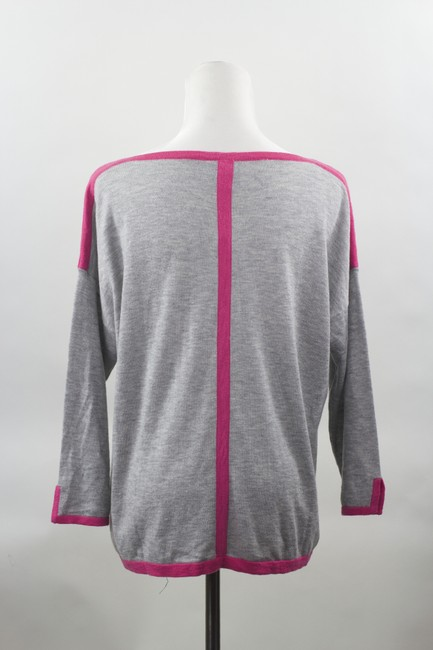 C&C California Cashmere Blend Grey Pink Piping Pink Detailing Size L 3/4 Length Sleeves Sweater