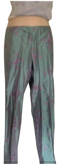 Nanette Lepore Silk Size 10 Embroidered Pastel Straight Pants light blue