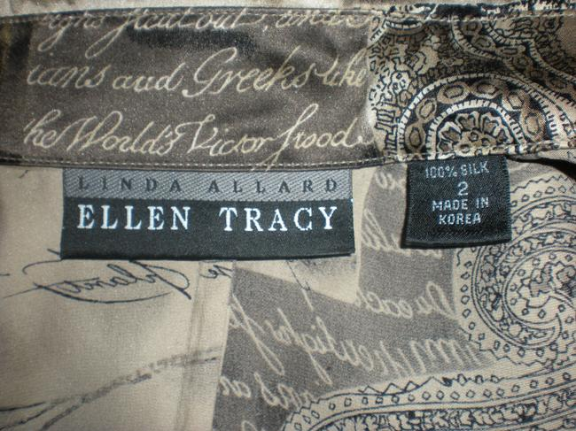 Ellen Tracy Button Down Shirt Grey, black and white