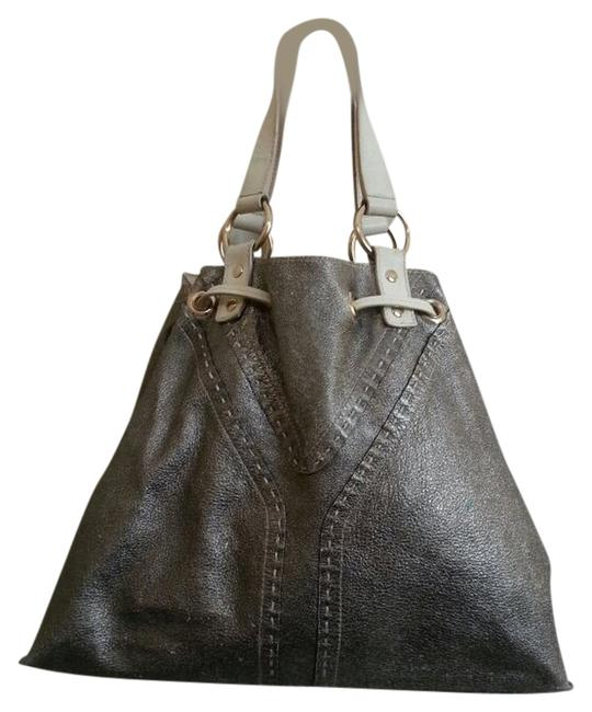 Item - Bag Ysl Silver/Ivory Reversable (Double Sac) Silver/Ivory Leather Tote