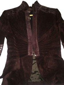 Gucci Python Leather Suede Dark Plum Leather Jacket