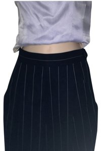 Gianfranco Ferre Wool High Waist Striped Trouser Pants black