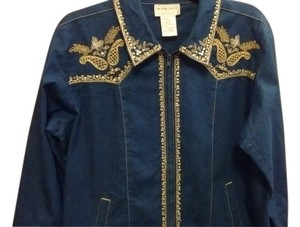 Victor Costa Occasion Sequined Gold Trim Denim Blue Womens Jean Jacket