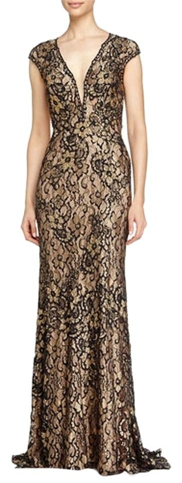Jovani Black/Gold Evening Gown Long Formal Dress Size 6 (S) - Tradesy
