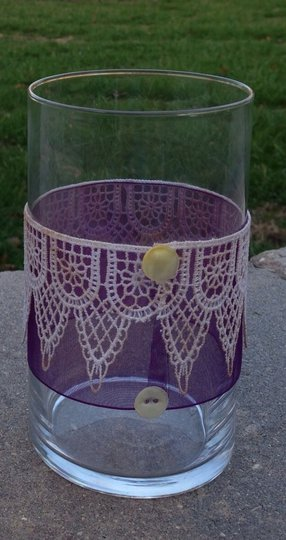 Multicolor Set Of 25 Lace Decorated Glass Holders Votive/Candle