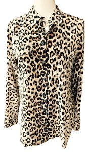 Equipment Top Black brown animal print