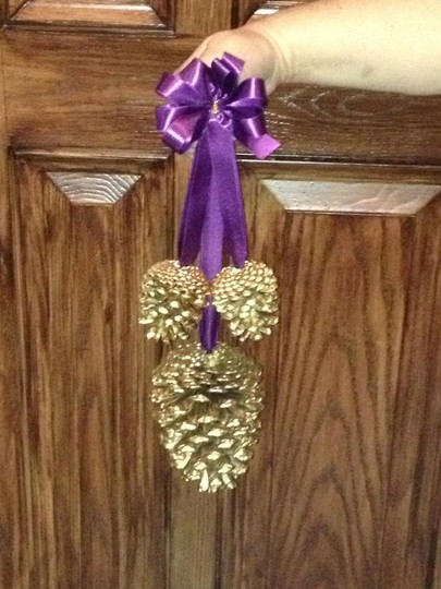Gold Hanging Pine Cone Pew Decor Aubergine/Plum R Ceremony Decoration
