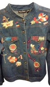 Gaudy Couture Denim Blue with multi colored embroidery Womens Jean Jacket