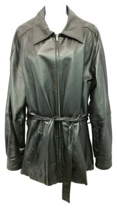 Wilsons Leather Belted BLACK Leather Jacket