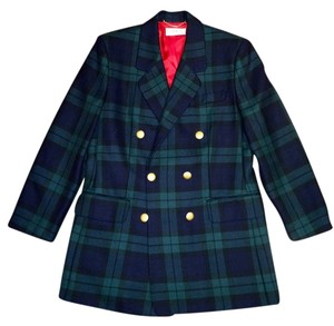 Givenchy Wool Plaid Doublebreasted Military Pea Coat