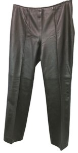 Escada Soft Supple Leather Straight Pants BLACK