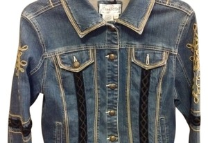 Live A Little Corded Stitched Denim Blue Womens Jean Jacket
