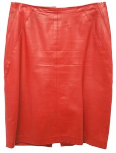 RUTH WAGNER Leather Pencil Skirt RED