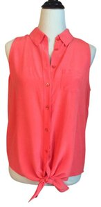 Equipment Silk Sleeveless Top Coral, Pink, Orange
