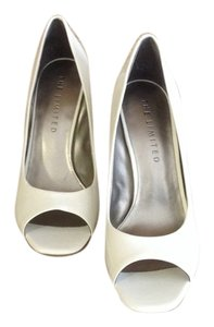 THE LIMITED Peep Toe Heels Patent Leather White Pumps