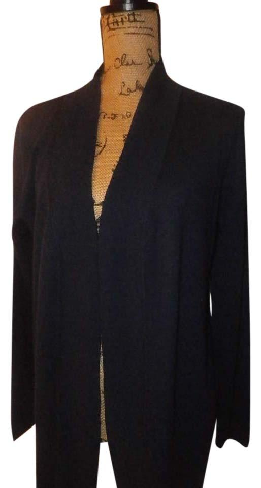 Max Studio Navy Blue New Sz. Large Open Front   Duster Sweater Cardigan eaf5f912b
