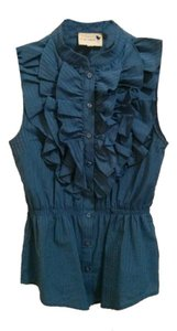 Anthropologie Peplum Top Blue