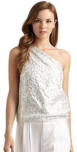 Alice + Olivia One Shoulder Top silver