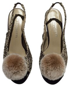 Via Condotti Tweed Fur Pom Pom Heels Brown Pumps