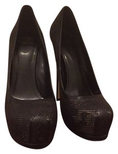 Truth or Dare by Madonna Black perforated with nude underlay. Pumps
