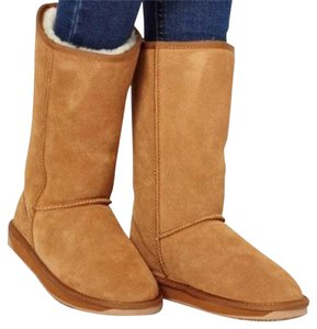 BooRoo Leather Sheepskin Emu-style Lt. Brown / Tan / Chestnut Boots