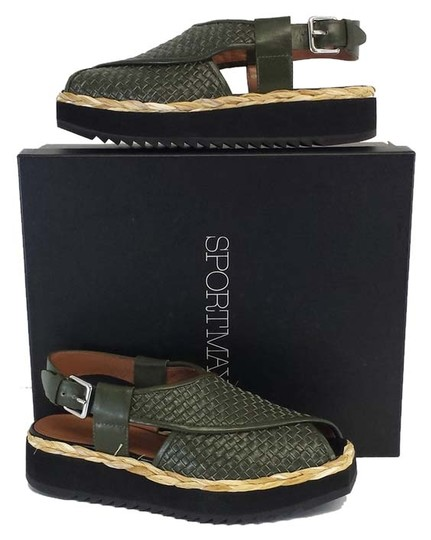 Preload https://img-static.tradesy.com/item/8964730/sportmax-veloce-green-leather-woven-platform-sandals-size-us-7-0-1-540-540.jpg
