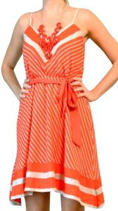 Express short dress Orange/red And White Striped on Tradesy