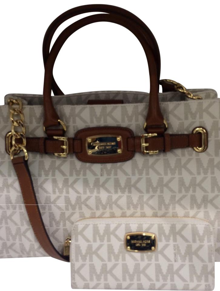 Michael Kors Hamilton East West Shoulder Strap Gold Hardware Wallet Included Tote In Vanilla Signature