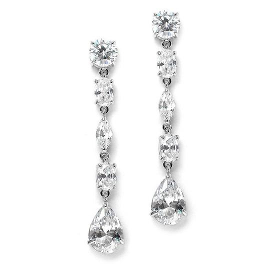 Silver/Rhodium Multi Crystals Linear Earrings